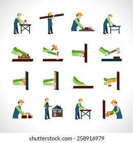 Carpenter icons set with carpentry and woodwork tools isolated vector illustration