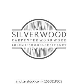 Carpenter industry logo design - wood log fiber woodwork. simple minimalis icon. round circle logo.