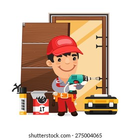 Carpenter Installs the Door. Isolated on white background.