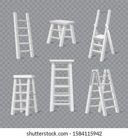 Carpenter ladders. Vector white ladder set, stepladders and stairs constructions for repair