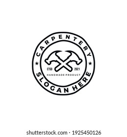 carpenter line art minimalist logo badge template vector illustration design. hammer, drill, and saw logo