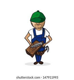 Carpenter man holding a wooden plank and saw isolated over white. Vector file layered for easy editing.