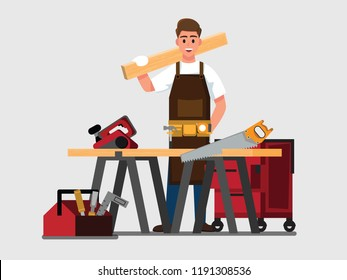 carpenter man  ,Vector illustration cartoon character.