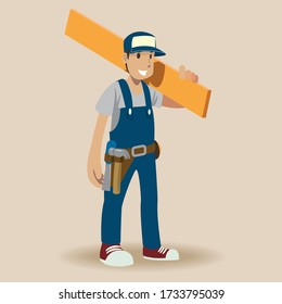 carpenter man ,Vector illustration cartoon character. Hand draw Vector illustration of an friendly Carpenter.