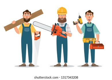 Carpenter, repairman with saw and tools. professionals teamwork. Vector illustration cartoon character design