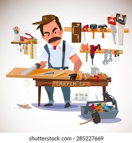 carpenter sawing wood board at the workshop. set of tools. character design - vector illustration