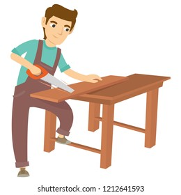 A carpenter sawing the wood on the table