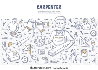 Carpenter with a timber plank. Doodle vector concept of carpentry, woodworking and handcraft. Illustration for web banners, hero images, printed materials