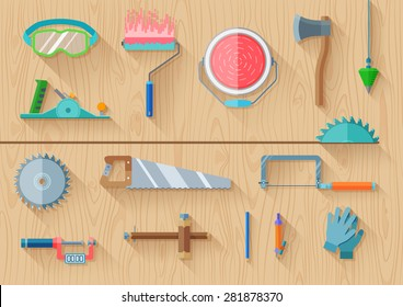 carpenter tools set use to construction renovation and repair on wood texture background. top view of flat design long shadow vector illustration.
