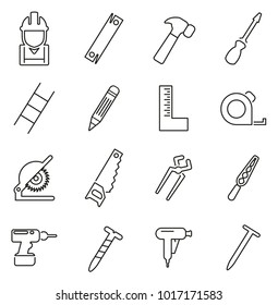 Carpenter or Woodworker or Handyman Icons Thin Line Vector Illustration Set