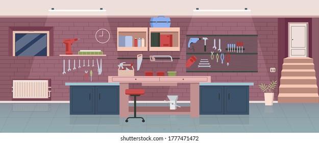 Carpenter workshop flat color vector illustration. Woodworking office, garage 2D cartoon interior design with work tools on background. Professional handyman workplace, carpentry studio decor