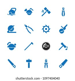 Carpentry icon. collection of 16 carpentry filled icons such as hammer, saw, saw blade, pliers. editable carpentry icons for web and mobile.
