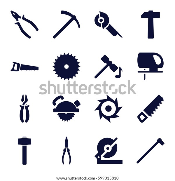 carpentry icons set. Set of 16 carpentry filled icons such as hammer, saw, blade saw, pliers