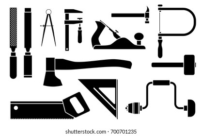 Carpentry Icons woodwork tool set. Vector illustration isolated on white background