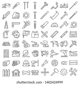 Carpentry industry equipment icons flat set with toolbox furniture