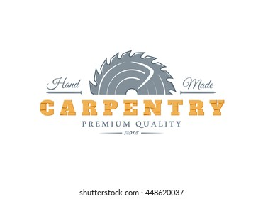 Carpentry logo. Elements for design on the carpentry theme. Modern labels of carpentry. Vector illustration