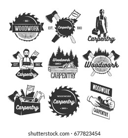 Carpentry logo templates. Black and white vector objects.