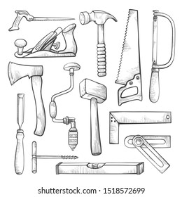 Carpentry professional tools hand drawn illustrations set. Woodwork equipment vector isolated cliparts pack. Craftsman, carpenter items design elements collection. Axe, hammer, saw on white background