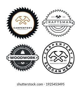 carpentry set logo badge icon template vector illustration design. hammer, drill, wood, and saw logo