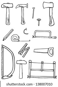 Carpentry tools doodles - kit for traditional carpenter or cabinetmaker. Hand-drawn illustration converted to vectors.