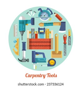 Carpentry tools equipment flat decorative icons set in circle shape vector illustration