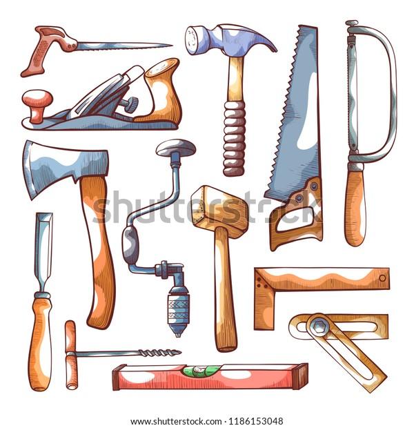 Carpentry Tools Hand Drawn Icon Set Stock Vector Royalty