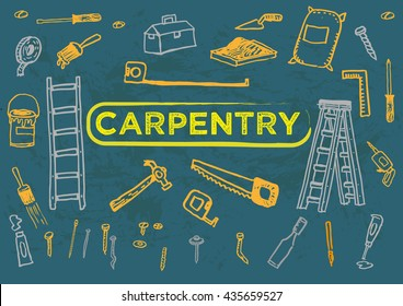 Carpentry Tools Set One Doodle artwork. Editable Clip Art.