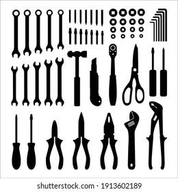 carpentry tools vector silhouettes design concept icon set
