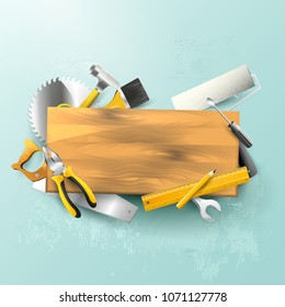 Carpentry trendy background with tools and wooden sign. Trendy pastel colors.