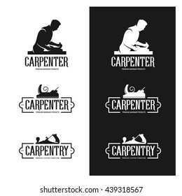 Carpentry vintage labels set. Carpenter shop advertising. Silhouette of carpenter. Carpentry tools. Woodworker with jointer in his hands. Monochrome vector illustration.