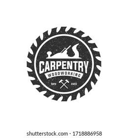 carpentry wood working vintage logo design template
