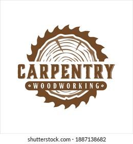 carpentry woodwork vector logo inspiration, vintage style