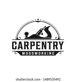 Carpentry, woodworking retro vintage logo design. Jack plane / wood plane logo