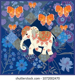 Carpet with indian elephan and large orange butterlies in patchwork style. Greeting or invitation card, tea box packaging. Ethnic motives. Vector summer design.