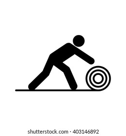Carpet man. Roll. Cleaning. Icon. Symbol