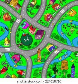 carpet road vector seamless pattern