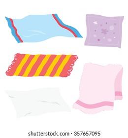 Carpet Towel Sheet Napkin Handkerchief Rag Fabric Cloth Cartoon Vector