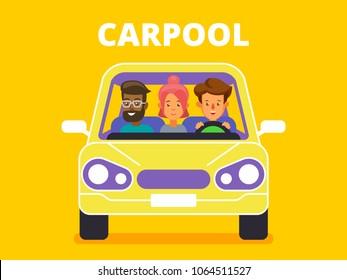 Carpool. Car sharing concept banner. Flat style vector illustration.