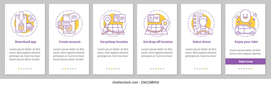 Carpooling mobile app onboarding mobile app page screen with linear concepts. Ride sharing service graphic instructions. UX, UI, GUI vector template with illustrations