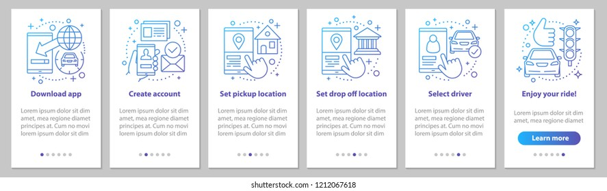 Carpooling onboarding mobile app page screen with linear concepts. Ride sharing service graphic instructions. UX, UI, GUI vector template with illustrations