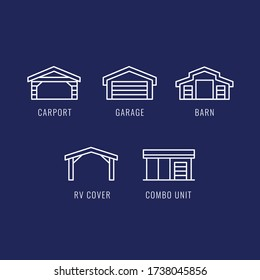 Carports icon set. Metal and steel buildings. Set of carports, garages, barns, rv covers, combo units vector icon