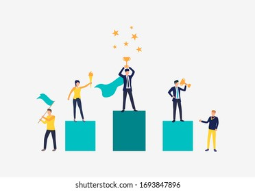 Carrer success vector illustration. People standing on podium, people supporting them. Business result concept.Vector illustration can be used for topics like competition, achievement, success