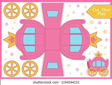 Carriage with crow. Birthday party décor. Cut and glue the paper a princess carriage. Worksheet with funny education riddle. Children printable crafts activity page. Vector template for gift package.