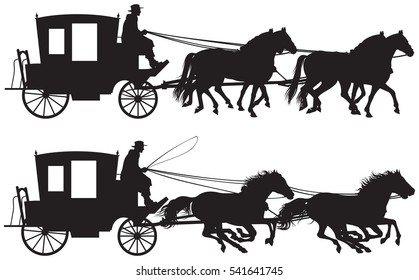 Carriage drawn by four horseâ??s silhouettes, four-in-hand horse-drawn traveling carriage realistic vector illustration