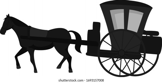 Carriage with horse, illustration, vector on white background
