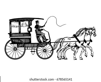 Carriage with horses vector illustration. Scratch board style imitation. Hand drawn image.