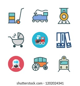 carriage icon set. vector set about train, baby stroller, stroller and blinder icons set.