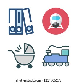 carriage icon set. vector set about blinder, train and baby stroller icons set.