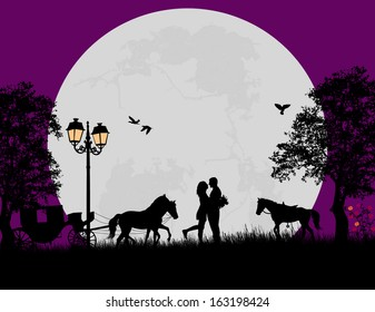 Carriage and lovers at night on beautiful landscape, vector illustration