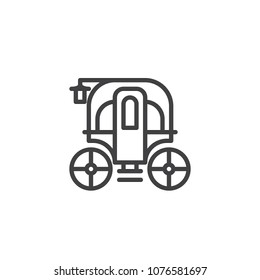 Carriage outline icon. linear style sign for mobile concept and web design. Ancient cart simple line vector icon. Symbol, logo illustration. Pixel perfect vector graphics